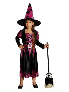 Bezauberndes Hexen-Kinderkostüm schwarz-pink