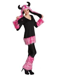 Süsses Halloween-Kostüm Monster pink-schwarz