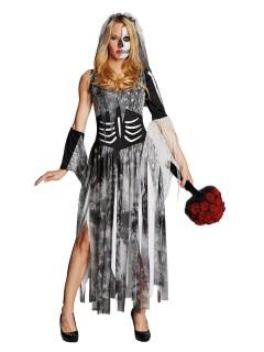 Schaurige Zombie Braut Halloween Damenkostüm grau-schwarz-weiss