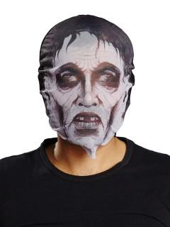 Schaurige Zombie Maske Halloween weiss-schwarz