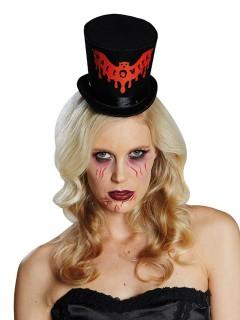 Mini-Zylinder blutige Fledermaus Halloween Kostümaccessoire schwarz-rot