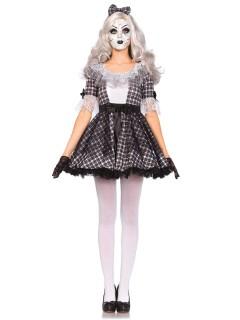Süsse Porzellan-Puppe Damenkostüm schwarz-weiss