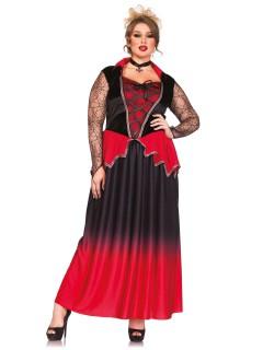 Noble Vampirin Damenkostüm in Übergröße Halloweenkostüm rot-schwarz