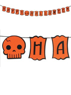 Happy Halloween-Girlande orange-schwarz 182x13cm