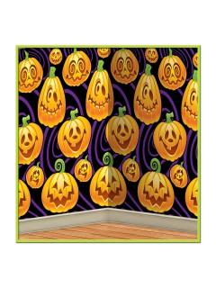 Lustige Kürbisse Wand-Deko-Folie schwarz-orange 121x76cm