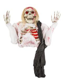 Skelett-Dekofigur Hängedeko Halloween weiss-schwarz-rot 152cm