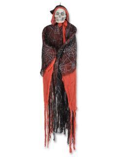 Vermummtes Skelett Halloween-Hängedeko schwarz-rot 152cm