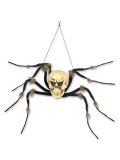 Spinnen-Skelett Hänge-Deko für Halloween schwarz-weiss 96cm