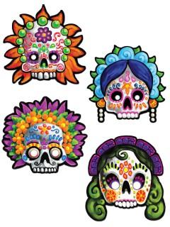 Tag der Toten Sugar Skull Masken Halloween 4 Stück bunt 30cm