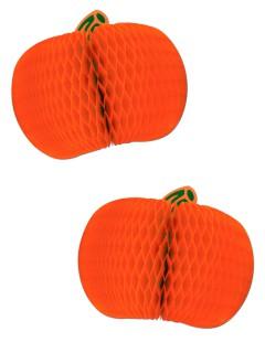 Kürbis Waben-Deko für Halloween 2 Stück orange-grün 18 cm