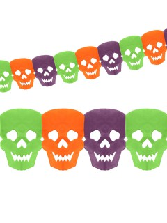 Tag der Toten Totenkopf-Girlande Halloween Party-Deko violett-grün-orange 360x14cm