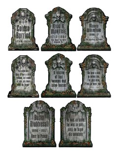 Gruselige Friedhof Grabsteine Skelett Halloween Party-Deko Set grau 30x41cm 4 Stück