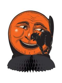 Katze und Mond Wabendeko Halloween Tischdeko schwarz-orange 25cm