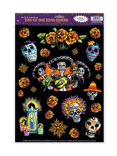 Tag der Toten Aufkleber-Set Halloween Party-Deko 16 Stück bunt 30x40cm