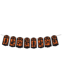 Scherenschnitt Banner Halloween Party-Deko orange-schwarz 360x19cm