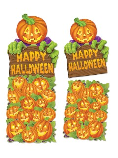 Kürbis-Pappfiguren Halloween-Deko Set 2-teilig orange 60x47cm