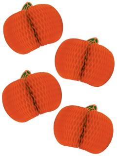 Kürbis-Waben Halloween-Deko Set 4 Stück orange 10cm