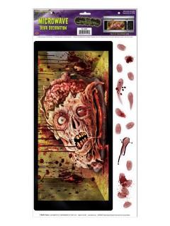 Blutiger Zombie-Kopf Mikrowellen-Sticker Halloween Party-Deko bunt 30x61cm