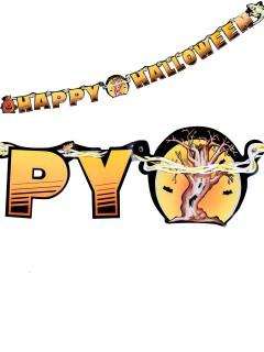 Banner Girlande Happy Halloween Party-Deko orange-schwarz 180x14cm