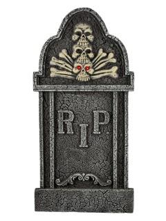 Grabstein Skelett mit leuchtenden Augen Halloweendeko grau 90cm
