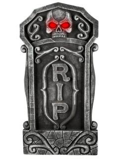 Grabstein RIP Skelett mit Leuchtaugen Halloween-Deko 92cm grau