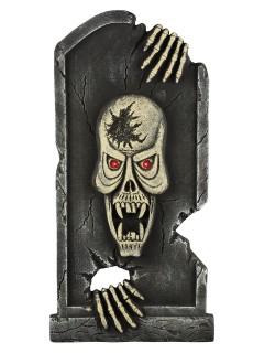 Skelett-Grabstein mit Leuchtaugen Halloween-Deko grau 90cm