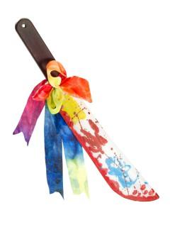 Blutige Clown Machete Halloween-Waffe bunt 76cm