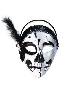Sugar Skull Totenschädelmaske mit Federn weiss-schwarz