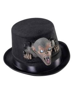 Schauriger Zylinder mit Monster Halloween schwarz-grau