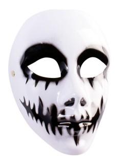Grinsender Totenschädel Vollmaske weiss-schwarz