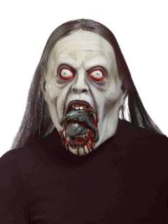 Zombie mit Ratte Halloween Gesichtsmaske grün-grau