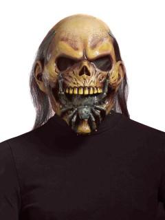Zombie mit Spinne Halloween Gesichtsmaske beige-grau