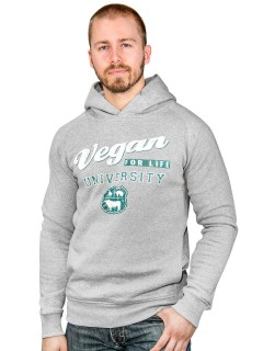 Vegan Hoodie Vegan for Life University hellgrau-weiss-grün