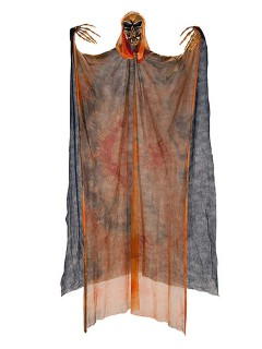 Gruseliger Teufel Dämon Halloween Hänge-Dekofigur orange 200cm