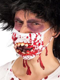 Horror-Zahnarzt Mundschutz mit Monsterzähnen weiss-rot