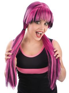 Gothic-Perücke mit Pony Halloween-Accessoire pink-schwarz