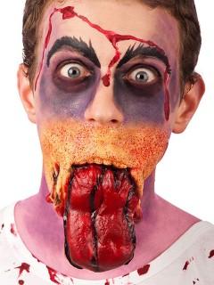 Latexapplikation blutige Zunge Zombie Halloween rot-gelb