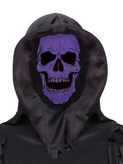 Totenkopf-Kapuze Halloween Maske schwarz-lila