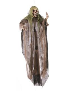 Skelett Halloween-Deko grün-schwarz 152cm