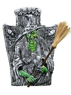 Grabstein-Deko Hexen-Dekofigur Halloween grau-grün 40,5x46cm