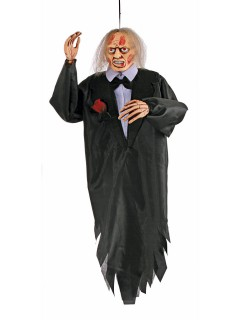 Zombie Gentleman Halloween-Hängedeko schwarz-weiss 91cm