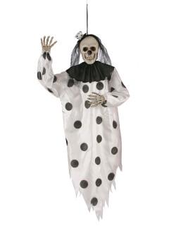 Schauriger Skelett-Clown Halloween-Hängedeko schwarz-weiss 91 cm
