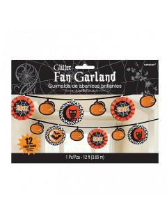 Halloween-Girlande Eulen Kürbisse und Fledermäuse schwarz-orange 360x19cm