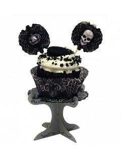 Schaurige Cupcake-Ständer Totenschädel Halloween Party-Deko 4 Stück schwarz