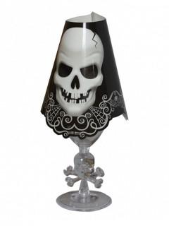 Totenkopf Weinglas-Cover Halloween-Tischdeko 8 Stück schwarz-weiss 27 cm