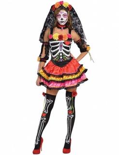 Tag der Toten Skelett-Frau Halloween Damenkostüm schwarz-bunt