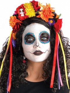 Tag der Toten Sugar Skull Haarreif Blumen bunt