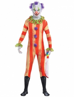 Horror-Clown Jumpsuit Halloween Kostüm bunt