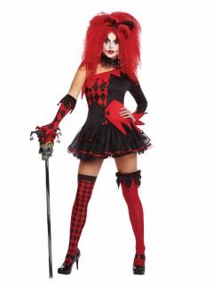 Teuflisches Harlekin-Damenkostüm schwarz-rot