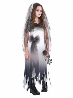 Geisterbraut-Kostüm für Jugendliche weiss-grau